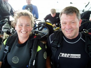 Judy and Tiny diving the Great Barrier reef